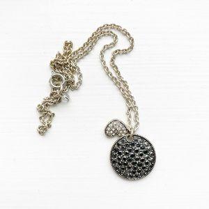 Stunning silver & black rhinestone charm necklace